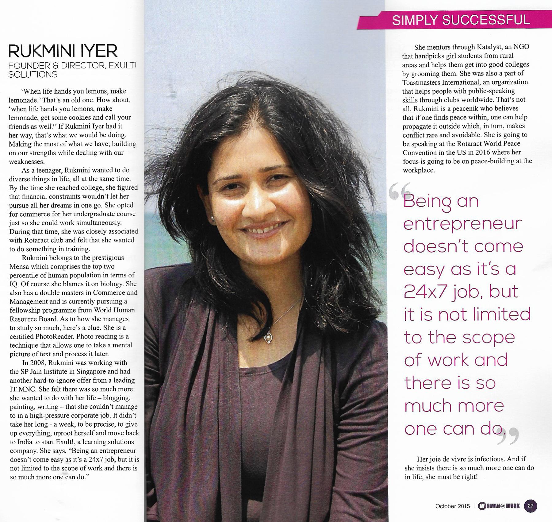 Woman at Work - Simply Successful - Rukmini Iyer